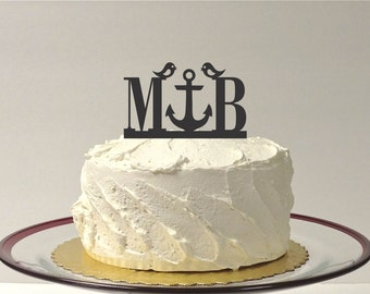 MADE In USA, Personalized Anchor Monogram Love Birds Wedding Cake Topper YOUR Initials Beach Themed Topper Nautical Cake Topper Anchor