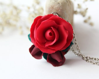 Red rose necklace, statement necklace, burgundy, romantic gift for her, dark red, bridesmaid necklace, red wedding, valentines gift