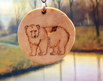 Pendant necklace, woodburned birch slice , Grizzly Bear,hand drawn and colored, with a copper chain for animal lovers, wood pyrography