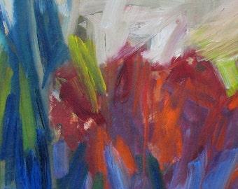 Sedum GICLEE ART PRINT 11 x 17 abstract floral gardens red purple blue