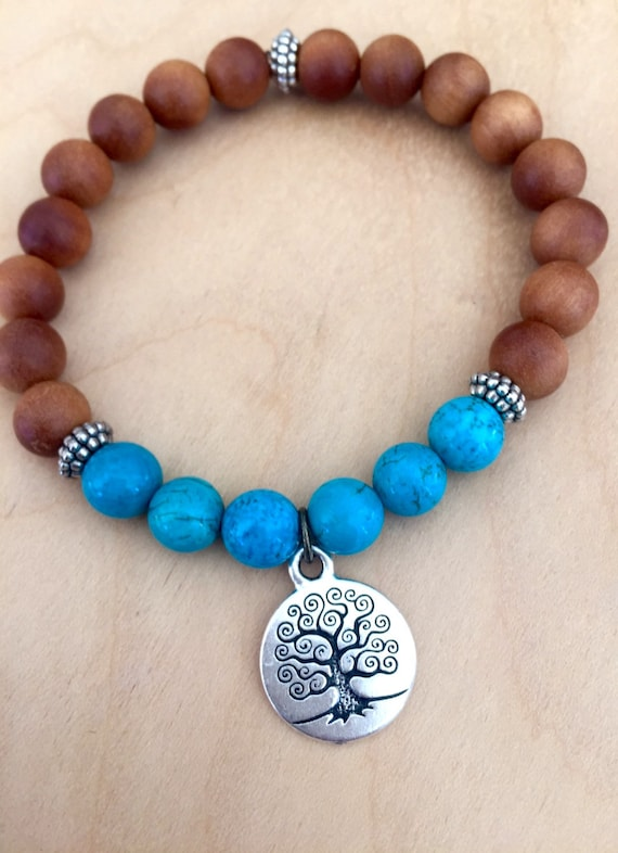 Boho Mala Bracelet, Sandalwood, Turquoise, Tree of Life Symbol , Knowledge, Creation, Buddha Beads, Intuition, Staking Wrist Mala
