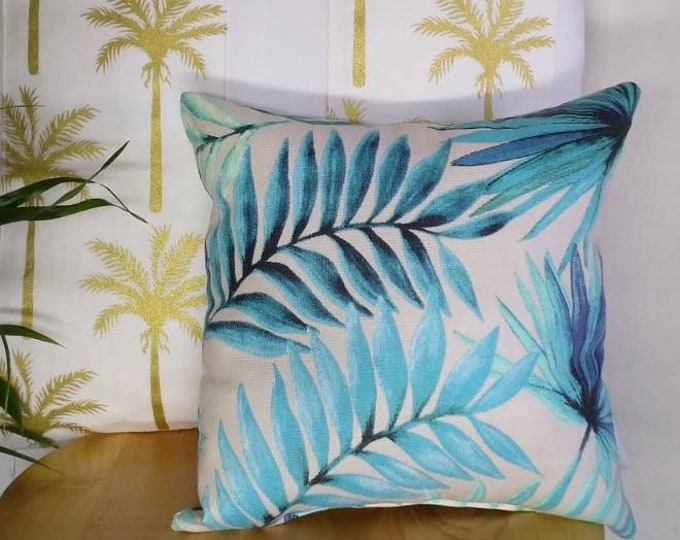 Featured listing image: Small tropical aqua, blue, green, light grey palm leaves print decorative throw cushion