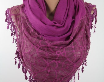 Cotton Scarf Tulle Scarf Shawl Lace Scarf  Scarf  Scarf Magenta Wedding Scarf Wrap Shawl Scarf Wedding Favors Bridesmaids Gifts Holiday