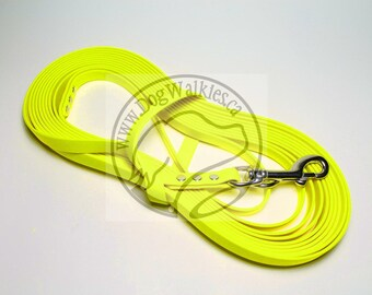 "Neon Yellow -   Waterproof Long Line - 1/2"" (12mm) wide Genuine Biothane - Tacking Line Recall Leash - Choice of hardware and length"