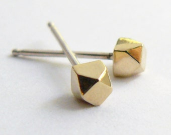 Gold Stud Earrings - Geometric Faceted Gold Studs - Tiny Everyday Earings - Ethical and Eco Friendly Jewelry Handmade by Hook And Matter NY