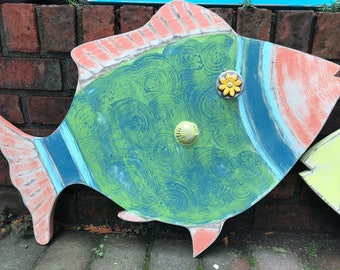 Fish Wall Art Sign Beach House Green Coral Coastal Decor by CastawaysHall - Ready to Ship