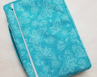 Bible Cover Custom Made Aqua with Butterflies Your Bible Measurements Required