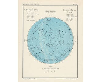 1955 JUNE or MAY LITHOGRAPH original vintage star map celestial print astronomy maps