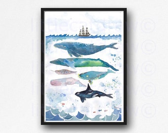 Whales Under The Sea Watercolor Painting Print Whale Art Print Wall Art Nautical Print Whales Bathroom Wall Decor Beach Decor Print