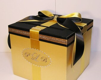 Wedding Card Box Gold and Black Gift Card Box Money Box  Holder--Customize your color