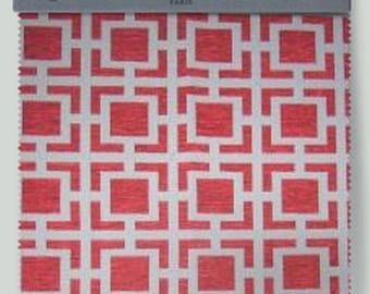 Fabric geometric maze 270 red oxygen Thévenon