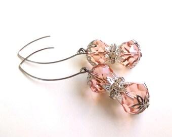Pink Crystal Earrings, Pink Glass Earrings, Pink Crystal Jewelry, Pink Drop Earrings, Elegant Earrings, Crystal Earrings, Crystal Jewelry