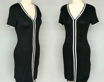 back to school / 90s dkny black knit dress minimalist / medium