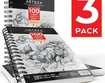"""Arteza Sketch Book 5.5X8.5"""" (68lb/100g, 100 Sheets, 3 Pack)"""