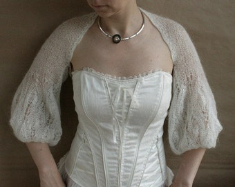 White Shrug-Bolero-Capelet with longer sleeves---hand knitted, size M