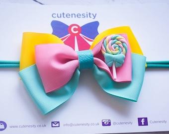 Bright coloured lollipop Grosgrain  Bow - Baby / Toddler / Girl / Kids Headband / Hairband / Barrette / Hairclip / Birthday / Cakesmash