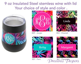 Personalized insulated steel stemless wine, tropical design wine, flaminto wine, cheetah print wine, insulated wine with lid