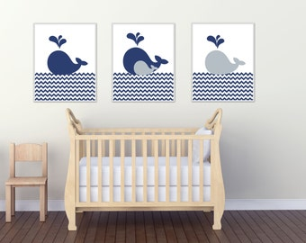Whale Nursery Art Print, Baby Boys Nautical Nursery Art, Navy and Grey Nursery, 4 Sizes Available-Colors Customizable H910