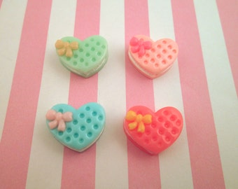 Pastel Heart Sandwich Cookie Cabochons, Cute Fairy Kei Dessert Pastries, #068b