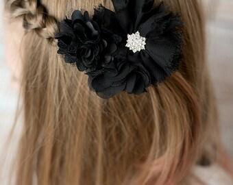 Black flower clip, black flower hair clip, girl birthday gift, wedding flower girl, black hair accessory, hair barrette, flower hair piece