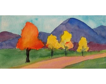 Abstract Landscape, Original Watercolor, Gift for Her, Abstract Art, Germany, Wall Art, Landscape Alps