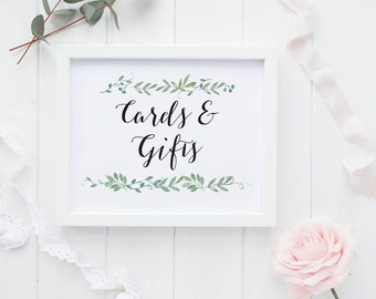 Cards and Gifts Printable Wedding Reception Sign - Reception Printable Cards and Gifts Signage - (Item code: P124)