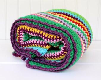 Crocheted Afghan -  Mixed Multi Stripe - Vintage Design - Rainbow of Colors - Scrap Throw - Crochet Blanket - Colorful Rainbow Throw