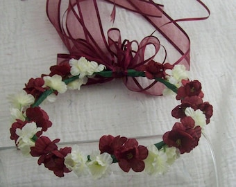 1 Burgundy and Ivory Flower Girl Hallow - Flower Head Piece -  Hair Flowers - Flower Girl - Fairy Princess - Dress up- Photo Prop