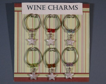 6 Pc Set Wine Glass ID Silvertone Star Charm Rings Handmade Drink Marker Identify Goblet Hostess Entertaining Cocktail Party Adult 1 Of Gift