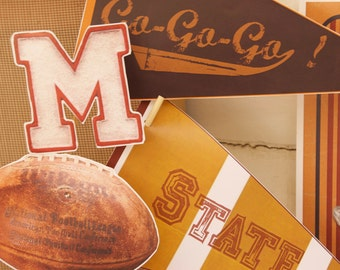 Football Party Decorations - Printable Vintage Style Pennants & Party Props.