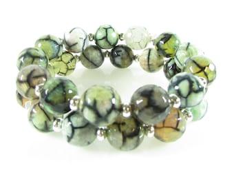 Green Agate Bracelet Set, Stackable, Gemstone Jewelry, Stretch Bracelets