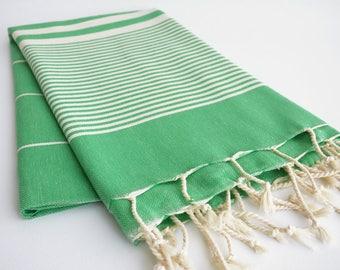 NEW / SALE 50 OFF/ Turkish Beach Bath Towel / Classic Peshtemal / Green / Wedding Gift, Spa, Swim, Pool Towels and Pareo