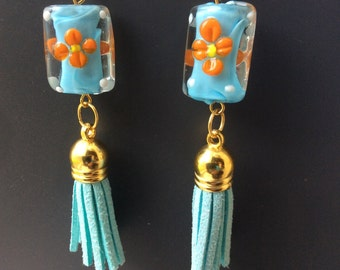 Flower blue and orange lamp work tassel dangle earrings