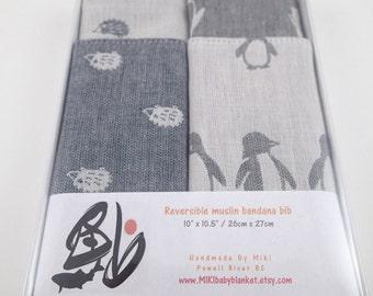 Hedgehog / Penguin bandana bibs in gift box, baby boy bib, baby girl gift, baby shower gift