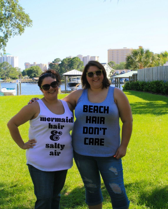 Beach Hair Don't Care Summer Ocean Women's Tank Top in Blue, White, Black & Grey in Sizes Small-4X