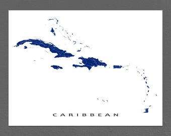 Caribbean Map Print, Caribbean Art, Islands