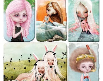 folk art portraits Stickers from Violette Stickers