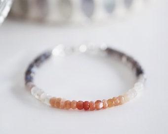 Rainbow Moonstone and Labradorite Delicate Bracelet, Multi Gemstone Stacking Bracelet, Multi Moonstone Ombre Bracelet, Bohemian Jewelry