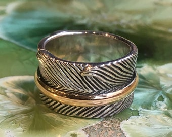 Sterling Silver gold Ring, Oxidized Silver Band, leaf Ring, meditation Ring, Statement Ring, Two Tones Band, Rustic Band, spinner ring RG691