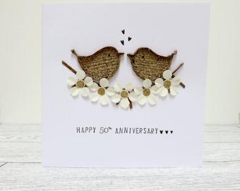 Golden Anniversary Card, 50th Wedding Handmade card, rustic love bird card, floral wedding card, 50th Anniversary keepsake card.