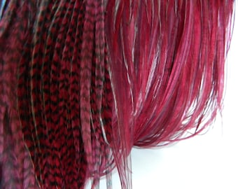 BURGUNDY SKINNY Grizzly & Solid Feather Hair Extension Mix, Long Hair Feathers, Select Your Size