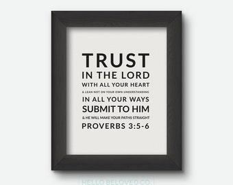 Bible Verse Print, Scripture Print, Proverbs 3:5-6 8x10 Digital Print, INSTANT DOWNLOAD
