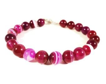 Agate Gemstone Bracelet, Striped Pink Agate Bracelet, Fuchsia Pink Bracelet, Beaded Bracelet, Stone Bracelet, Women's Handmade Jewelry