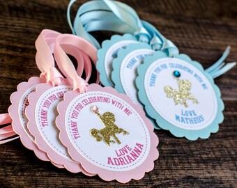 Carousel favor tags, custom made, horse favor tags