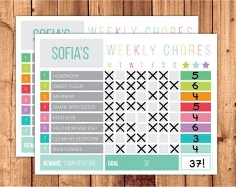 Printable Reward chart / Printable Chore chart / Chore Chart / Behavior chart /  Editable PDF