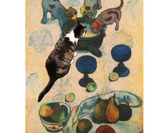 Cat Art Print, Cat Lover Gift, Parody, Whimsical Print, Gauguin, Artwork by Deborah Julian