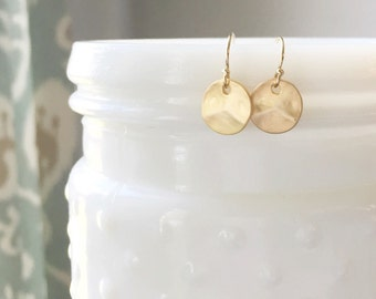 DOTTIE | Tiny Gold Circle Earrings | Dainty Circle Earrings Gold | Tiny Dangle Circle Earrings Gold | Small Hammered Disc Earrings Gold