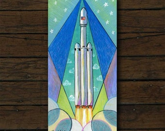 Falcon Heavy mixed media artwork archival giclée print on cradled board with edges