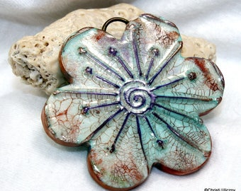 Polymer clay pendant, gear pendant, 52mm, boho chic, hippie, antiqued aged worn rustic, Handmade large faux ceramic flower jewelry component