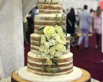Styrofoam rustic wedding tree slices stumps bark circles centerpiece cake stand tower holder display